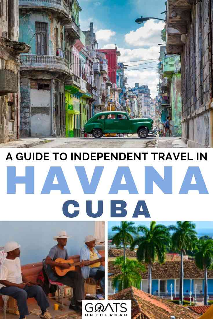 classic cars in cuba with text overlay a guide to independent travel in cuba