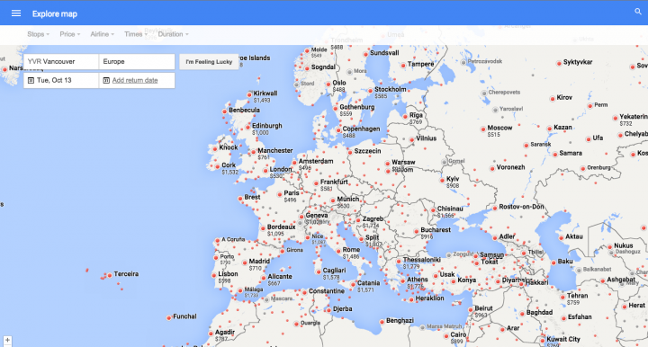 Google Flights Map