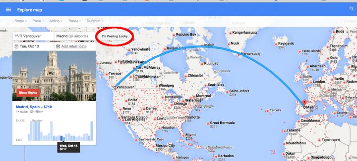 I'm Feeling Lucky Google Flights