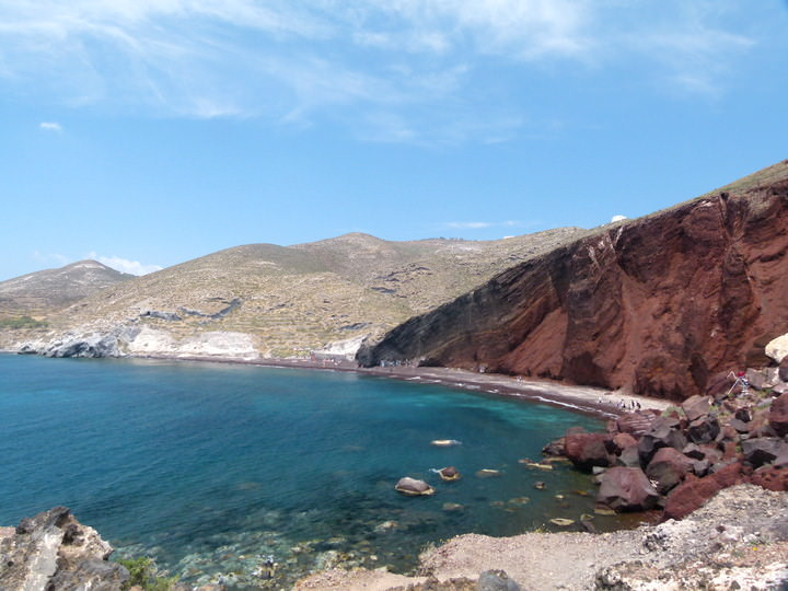 red beach crete greece