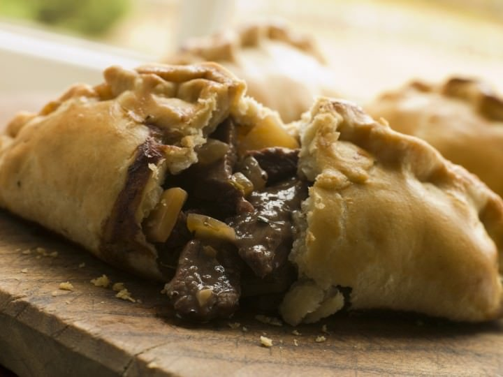 Traditional Cornish Pasty broken open