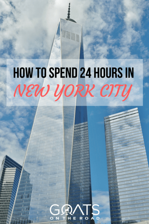 buildings with text overlay how to spend 24 hours in new york city