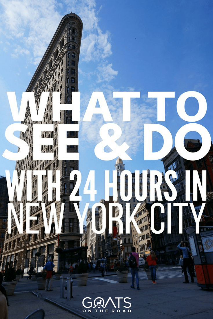 new york city building with text overlay what to see and do with 24 hours in new york city