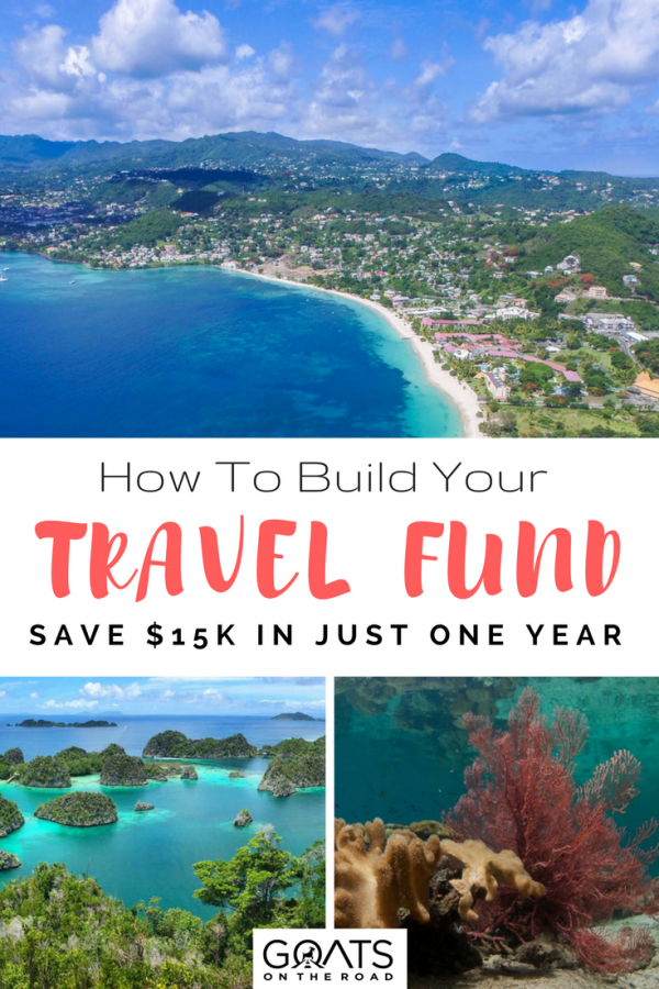 various travel imagery with text overlay how to save a travel fund in one year