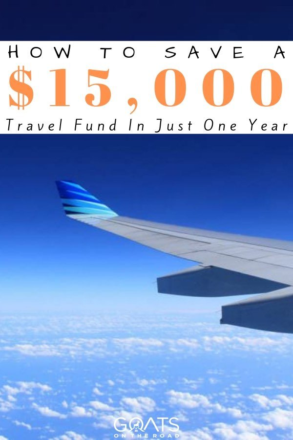 view from the plane with text overlay how to save a 15000 dollar travel fund