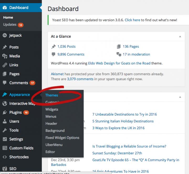 Create a blog install theme