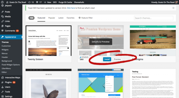 Install theme make a blog from scratch