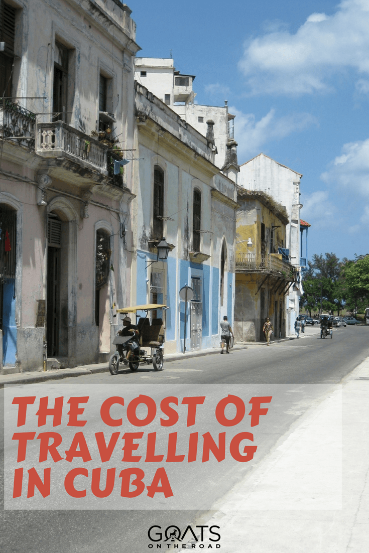 Cuban street scene with text overlay The Cost Of Travelling In Cuba