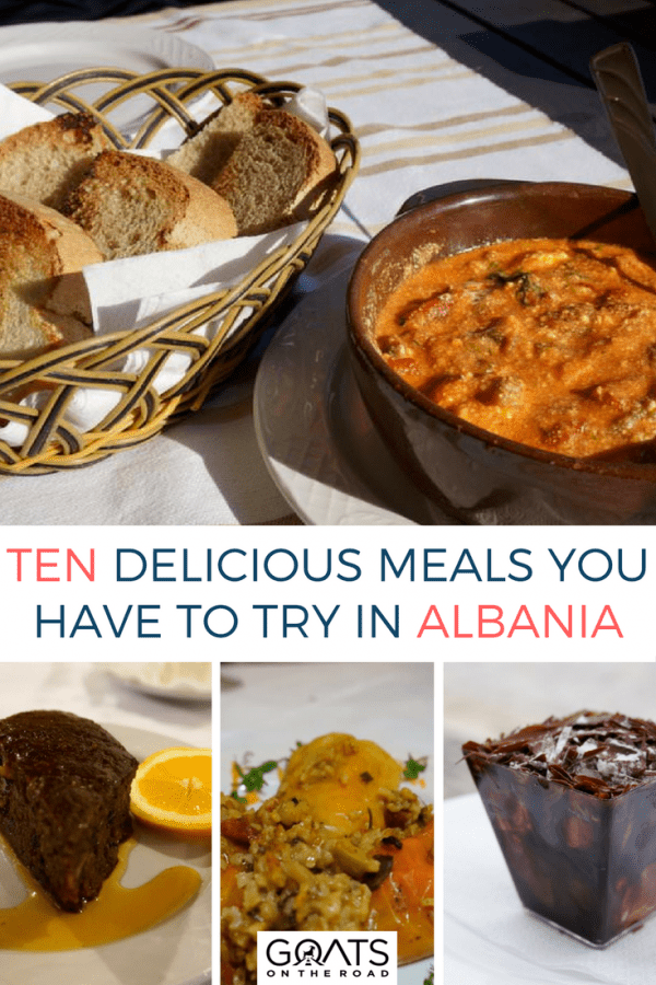 Fëgesë and Albanian desserts with text overlay Ten Delicious Meals You Have To Try In Albania