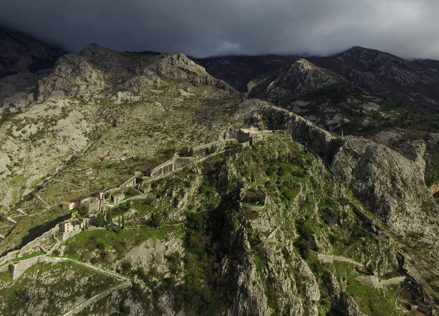 travel to kotor bay montenegro drone picture of fort walls