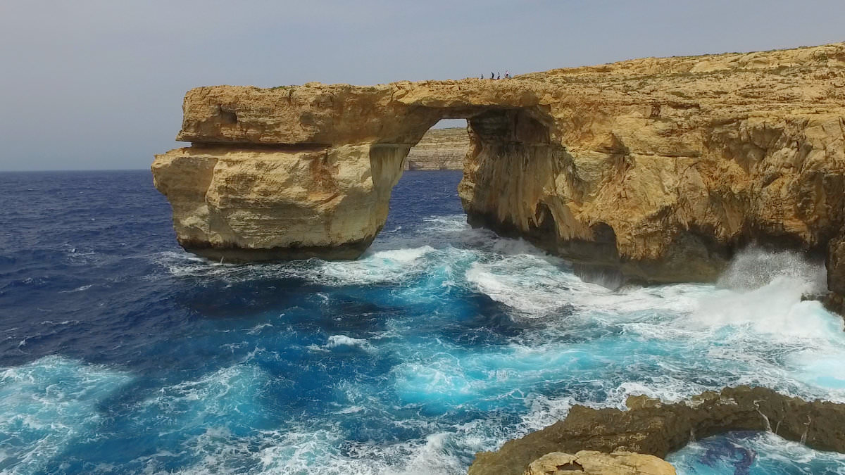 The azure window in gozo malta drone picture