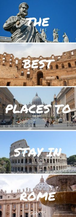 Five photographs of popular places in Rome with text overlay the best places to stay in Rome