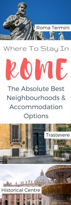 Three photographs of popular sight in Rome with text overlay Where To Stay In Rome