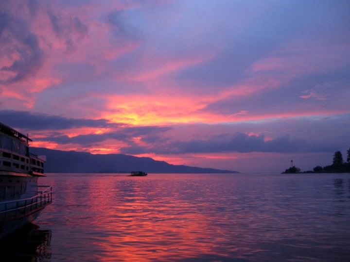 sunset on lake toba indonesia