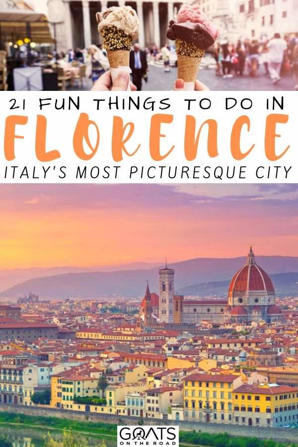 Florence city skyline with text overlay 21 fun things to do