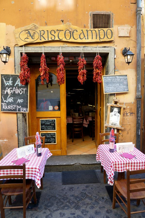 travel to italy rome restaurant in trastevere