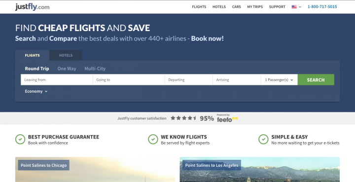 JustFly flight booking engine