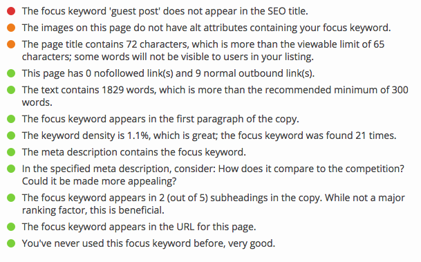 yoast seo analysis