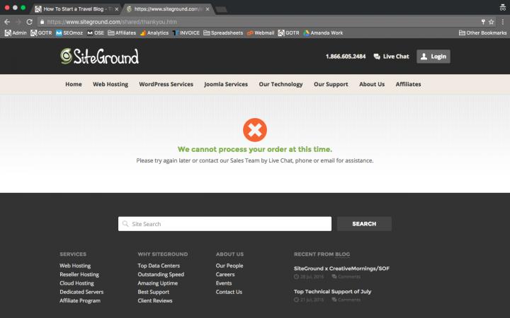 Start a blog error screen