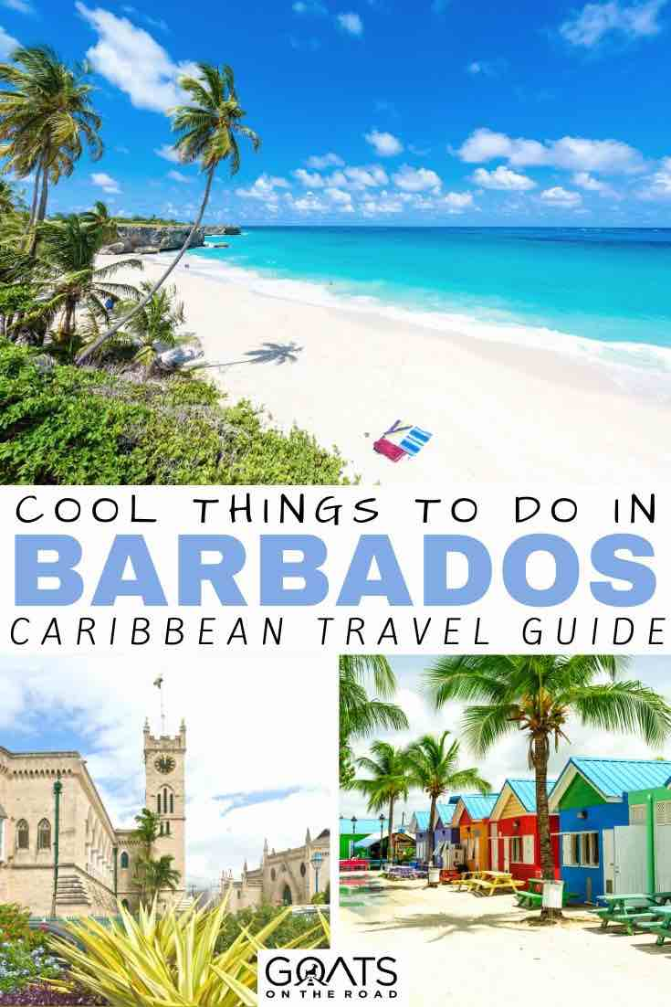 beach with text overlay cool things to do in Barbados caribbean