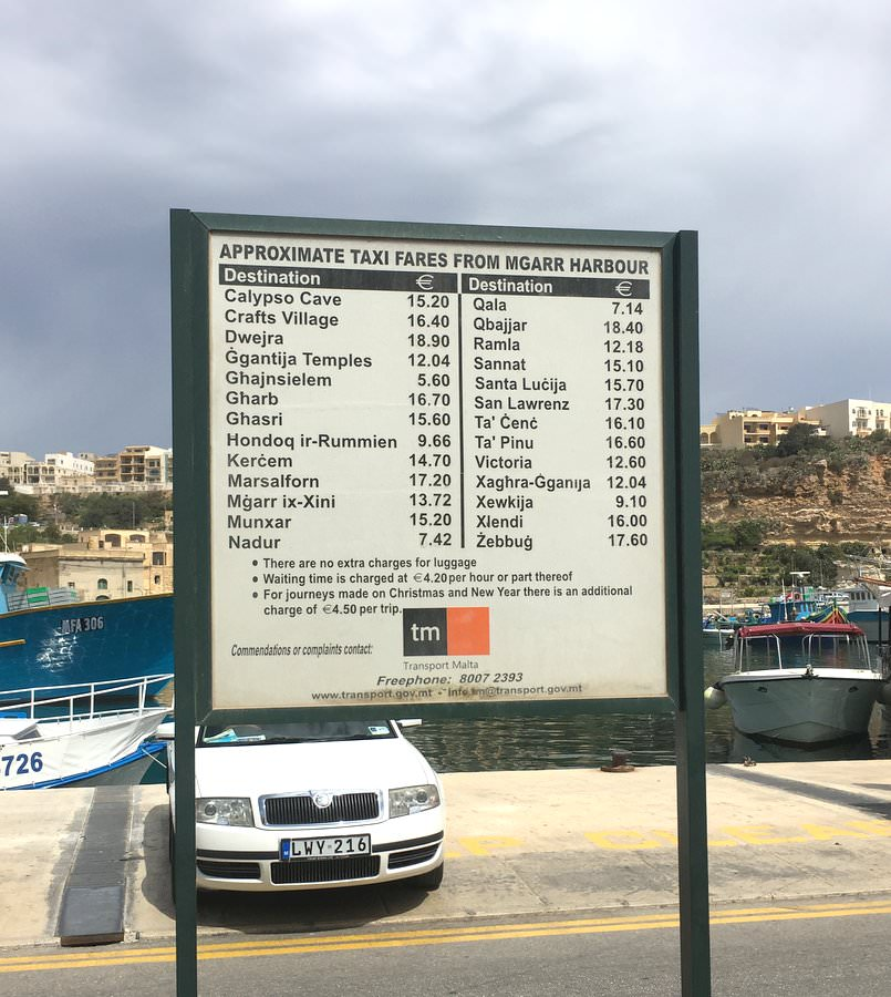 taxi fares for gozo island