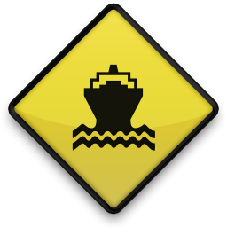 boat ferry road sign