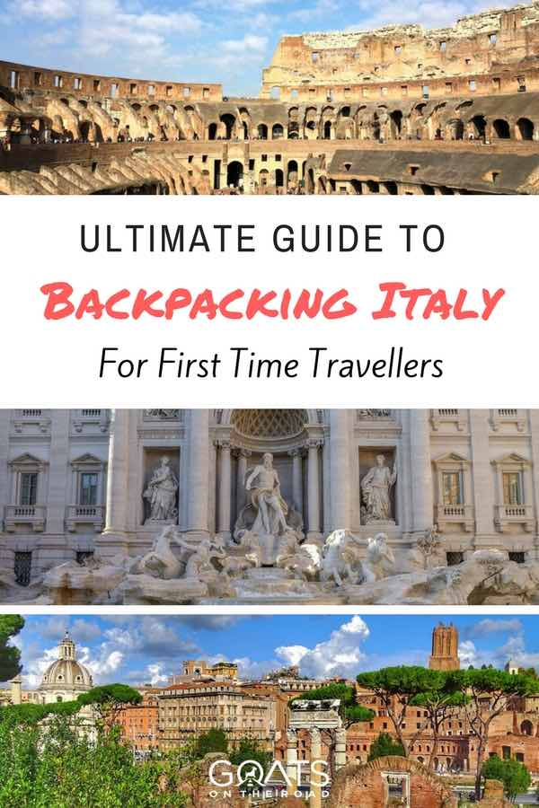 Attractions in Rome with text overlay Ultimate Guide To Backpacking Italy
