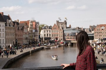 woman taking in view of city abroad