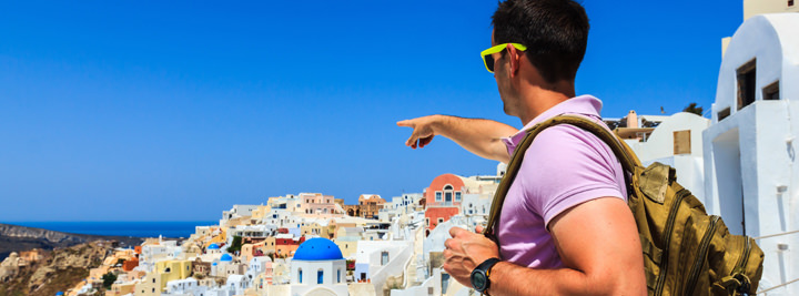tourist takes in view of greece