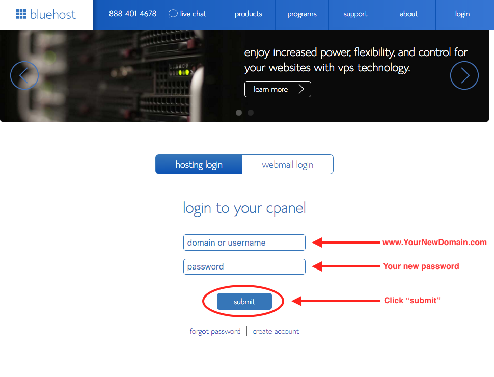 How to Start a Travel Blog 9- Bluehost:cPanel Login