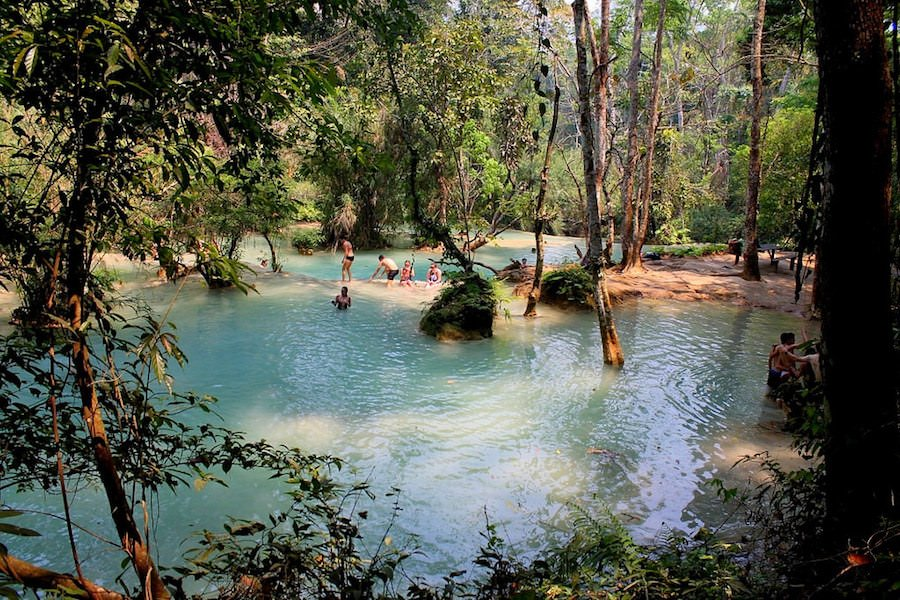 Kuang Si Waterfall pools