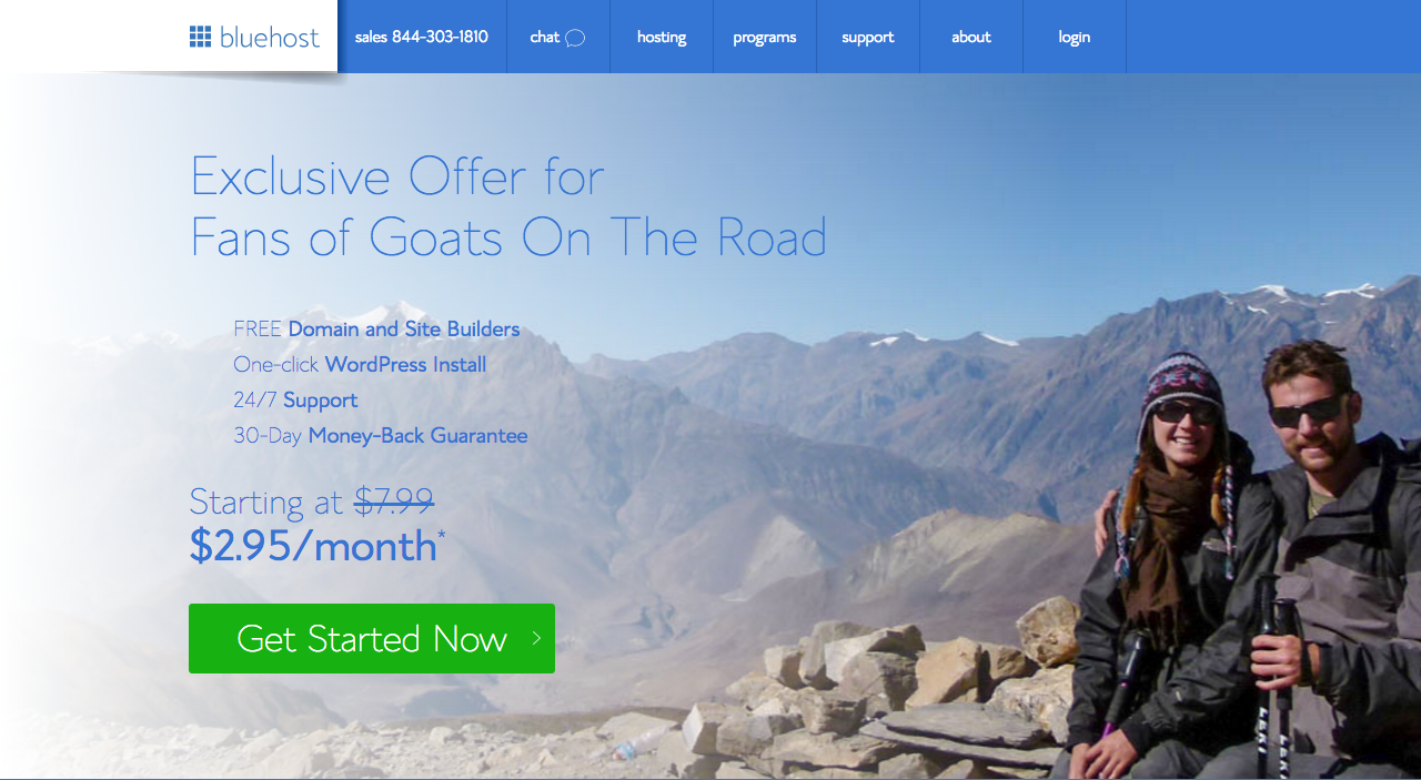 Bluehost Goat Discount Page