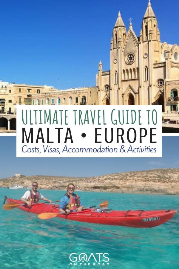 Kayaking in blue lagoon with text overlay Ultimate Travel Guide To Malta Europe