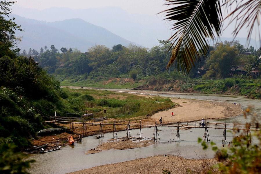 bamboo bridge, Luang Prabang
