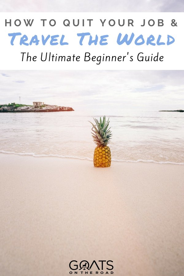 Pineapple on beach with text layover How To Quit Your Job & Travel The World The Ultimate Beginner's Guide