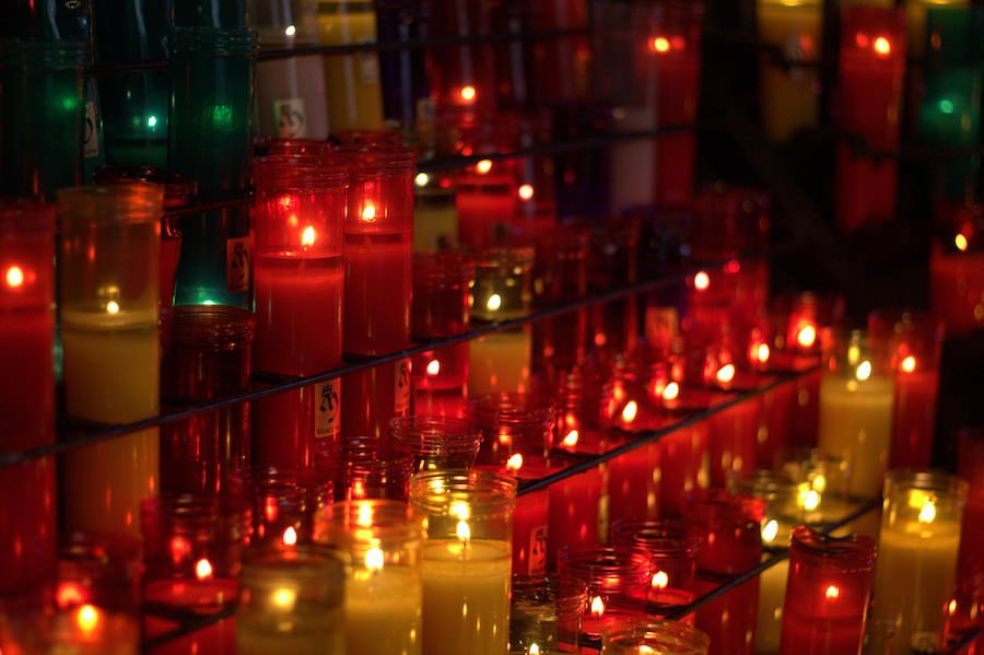 candles benedictine abbey montserrat spain