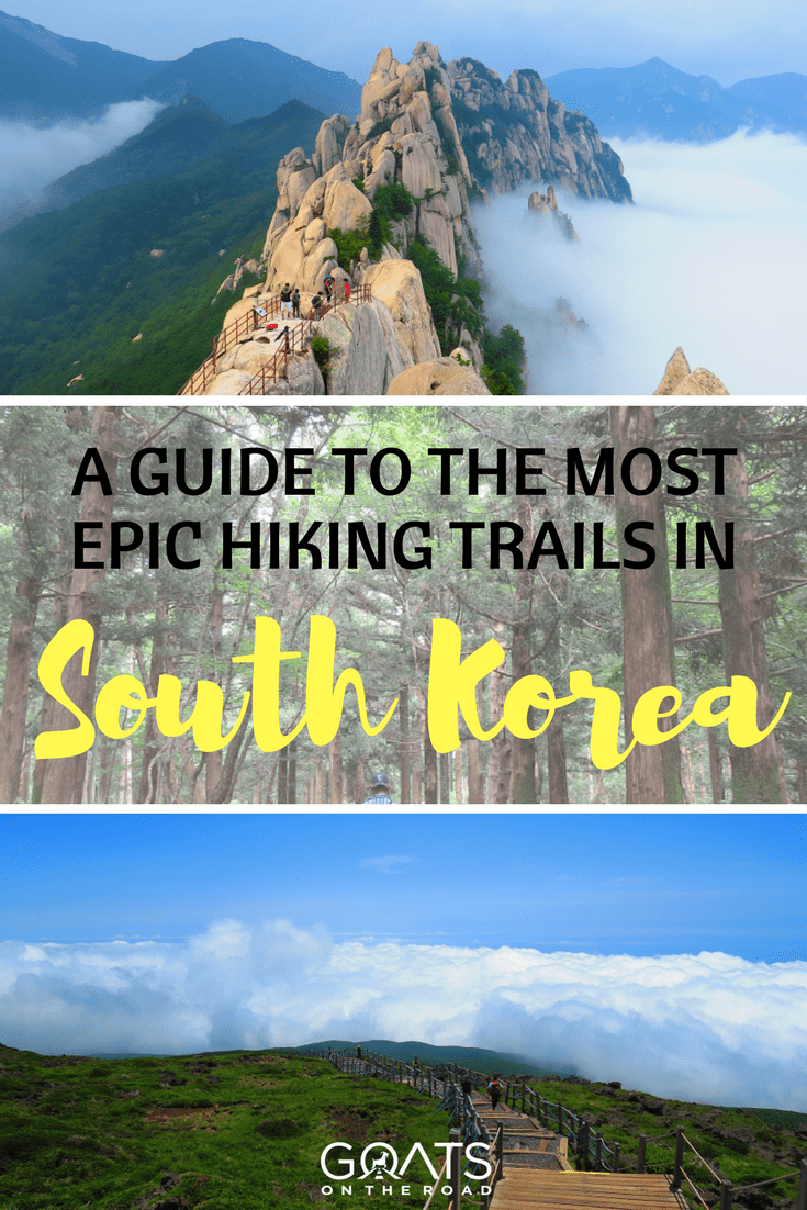 epic hiking trails in South Korea with text overlay