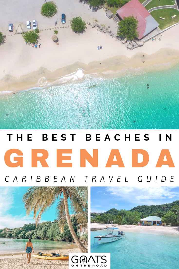 aerial view of beach with turqoise water and palm trees with text overlay the best beaches in grenada