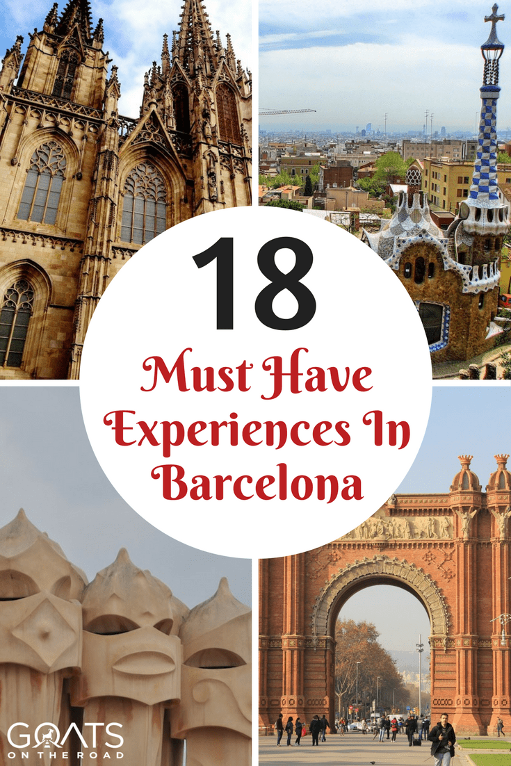 Various architecture designs in Barcelona Spain with text overlay