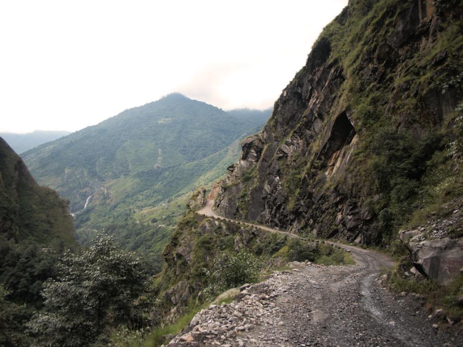 Motorbiking along the road from Tatopani to Jomson in Nepal