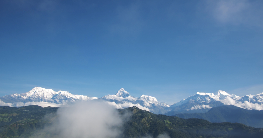The view of the Annapurna massif from Sarangkot Hill in Nepal