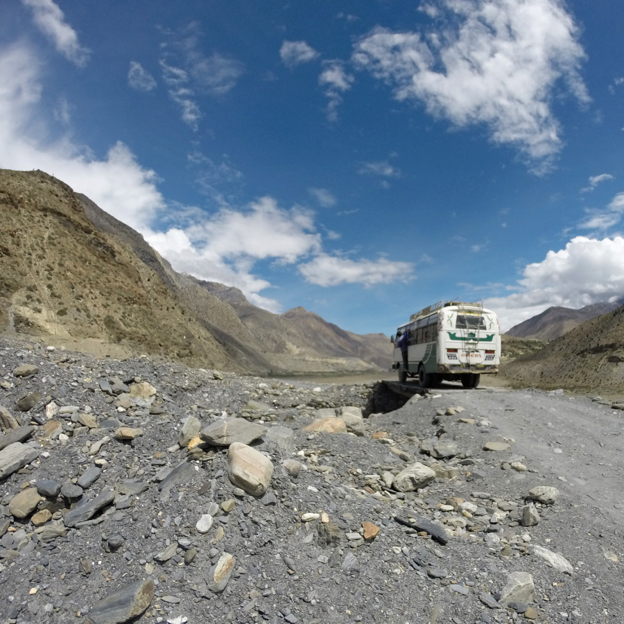 A bus travelling the route between Beni and Jomsom