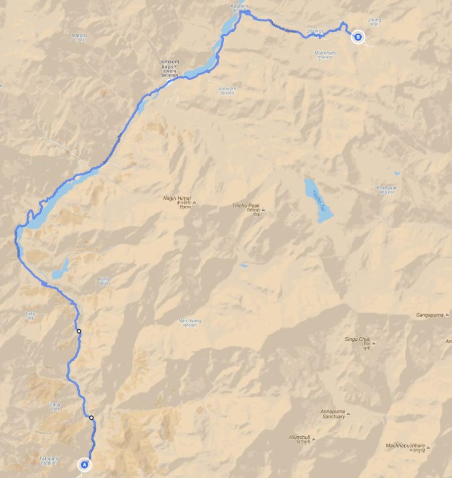 Motorbiking route from Tatopani to Muktinath, Nepal
