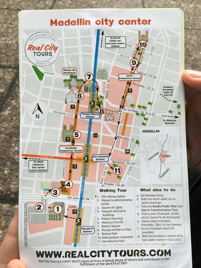 Medellin Walking Tour Map
