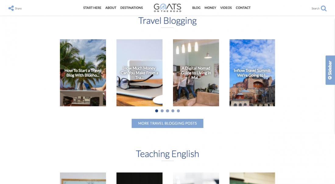 new blog design make money for travel page
