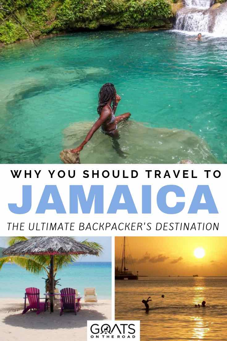 blue hole in jamaica with text overlay why you should travel to jamaica