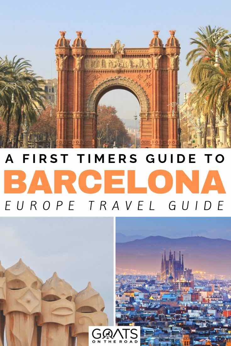 Barcelona city with text overlay a first timers guide to barcelona