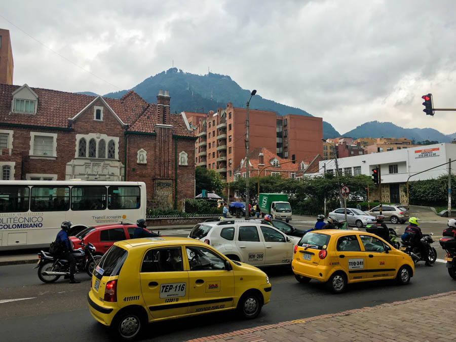 the busy streets of bogota colombia, it's best to take Ubers when backpacking colombia