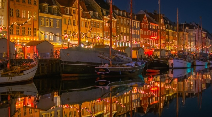 nyhavn district of copenhagen, denmark at christmastime