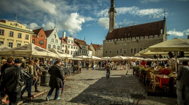 city square in tallinn, estonia